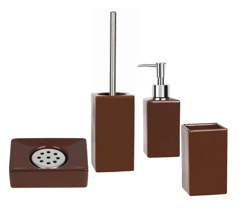 Amazon.com: Spirella Quadro Brown 4 Piece Bath Set Stoneware: Home ...