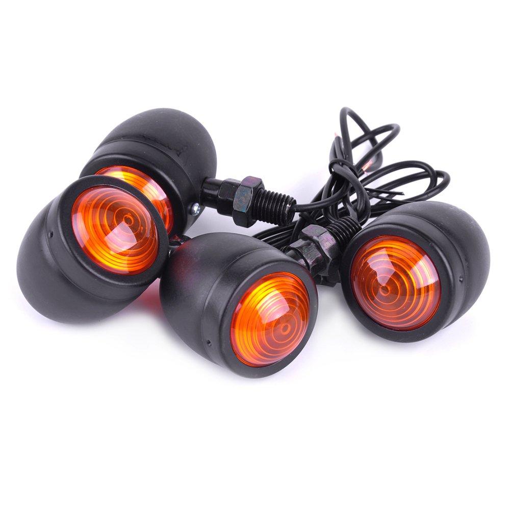 EKADA 4pcs Motorcycle Indicators Retro Bullet-Shaped Motorbike Turn Signal Lights Blinker Lights Front Rear Lights Universal
