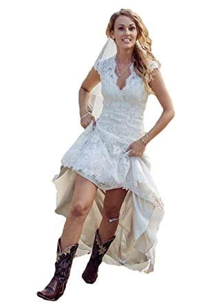 Dreagel High Low Lace Country Wedding Dresses V Neck
