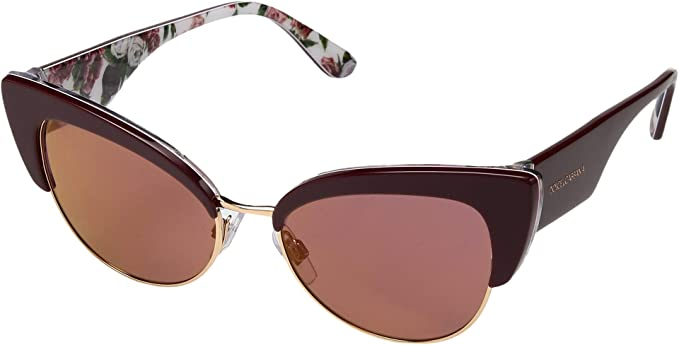 924dab3a3062 Dolce & Gabbana Women's 0DG4346 Bordeaux/Rose/Peony/Dark Violet Mirror Red  One