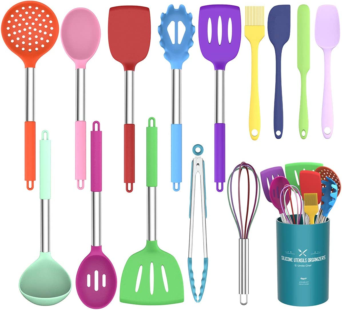 Umite Chef Kitchen Utensils Set, 15 pcs Silicone Cooking Kitchen Utensils Set, Heat Resistant Non-stick BPA-Free Silicone Stainless Steel Handle Turner Spatula Spoon Tongs Whisk Cookware (Colorful)