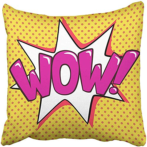 - Decorative Throw Pillow Cover Square Size 18X18 Inches Pop Art Vintage Wow Sign and White Star Explosion Dots Pillowcase with Hidden Zipper Decor Cushion Gift for Holiday Sofa Bed