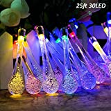 T-SUN 25ft 30LEDs Outdoor Solar String Lights, Colorful Solar Christmas Lights, Hanging Solar Garden Light, Patio, Yard, Home, Christmas Tree, Parties, Wedding (Water Drop)