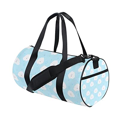QINGYANG Duffle Bag Sports Bag Blue Cloud Luggage Bag with Shoulder Strap for Men and Women