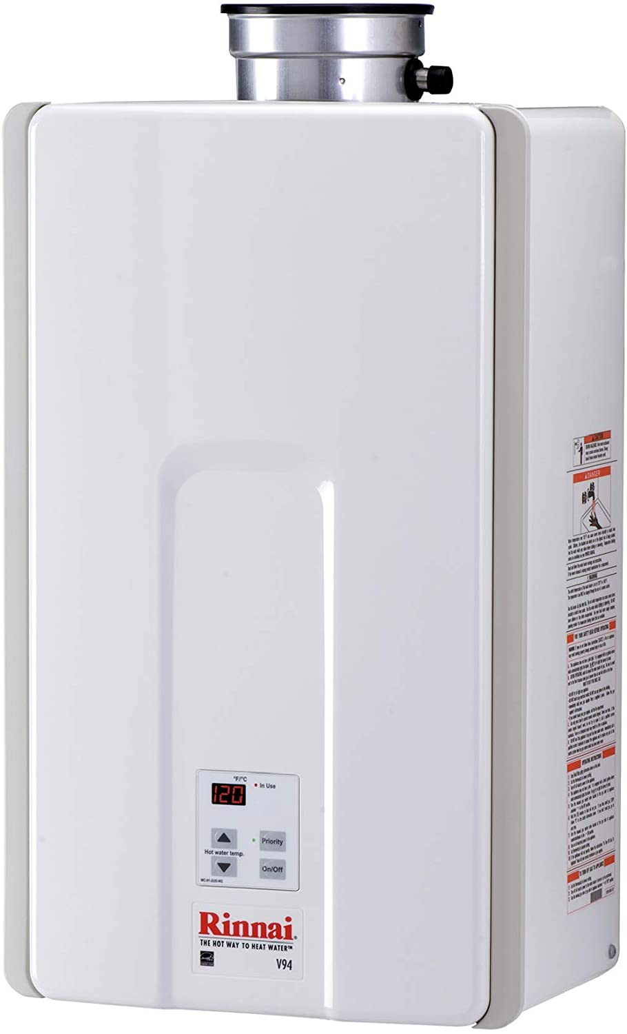 Rinnai V94iN High Efficiency Tankless Hot Water Heater, 9.4 GPM - Natural Gas: Indoor Installation
