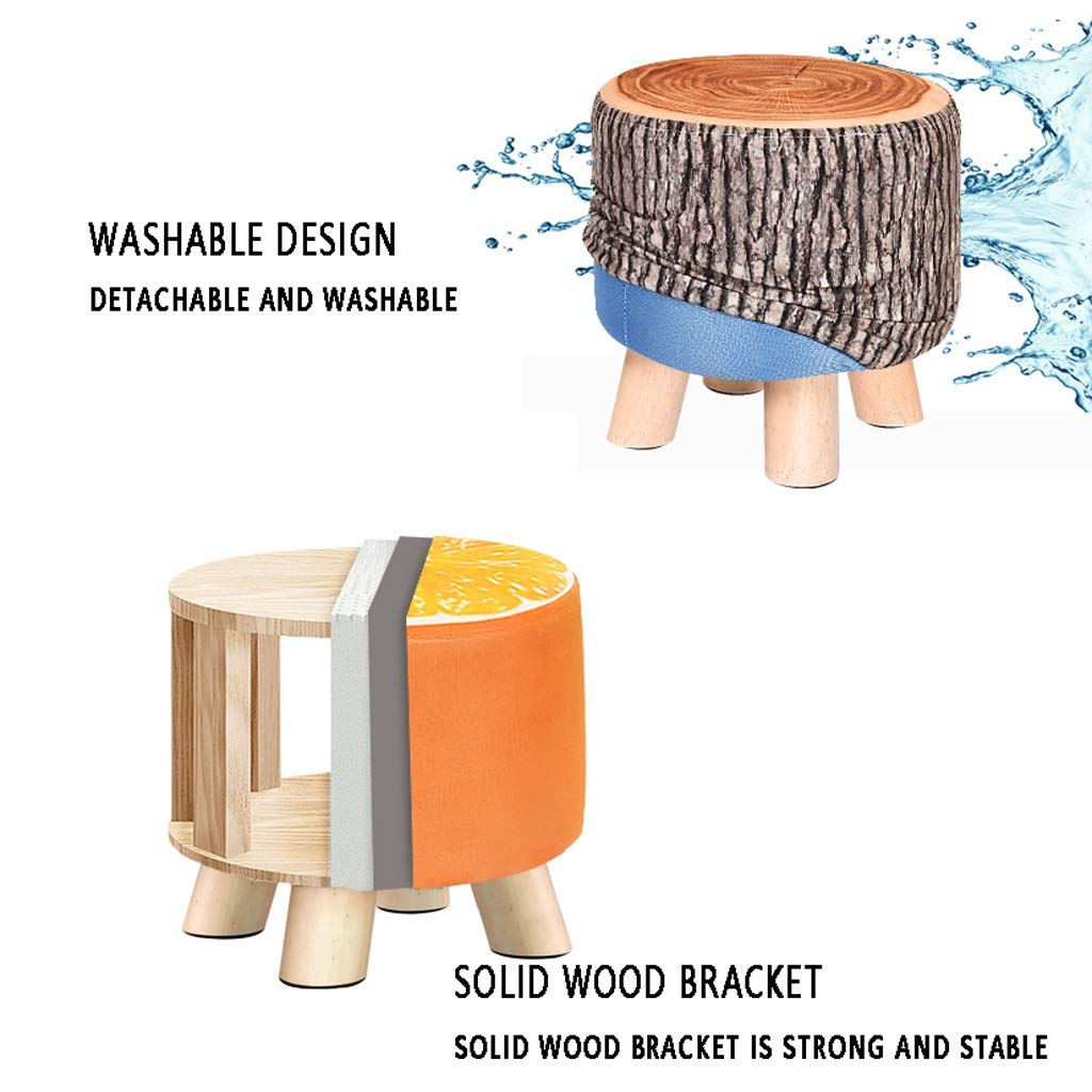Solid Wood Stool - Four Legs Pine Sturdy and Durable Cloth Cover Can Be Washed and Wash Creative Children Adult Fruit Stool Sofa Bench 292928CM MENA UK by Benchor (Image #2)