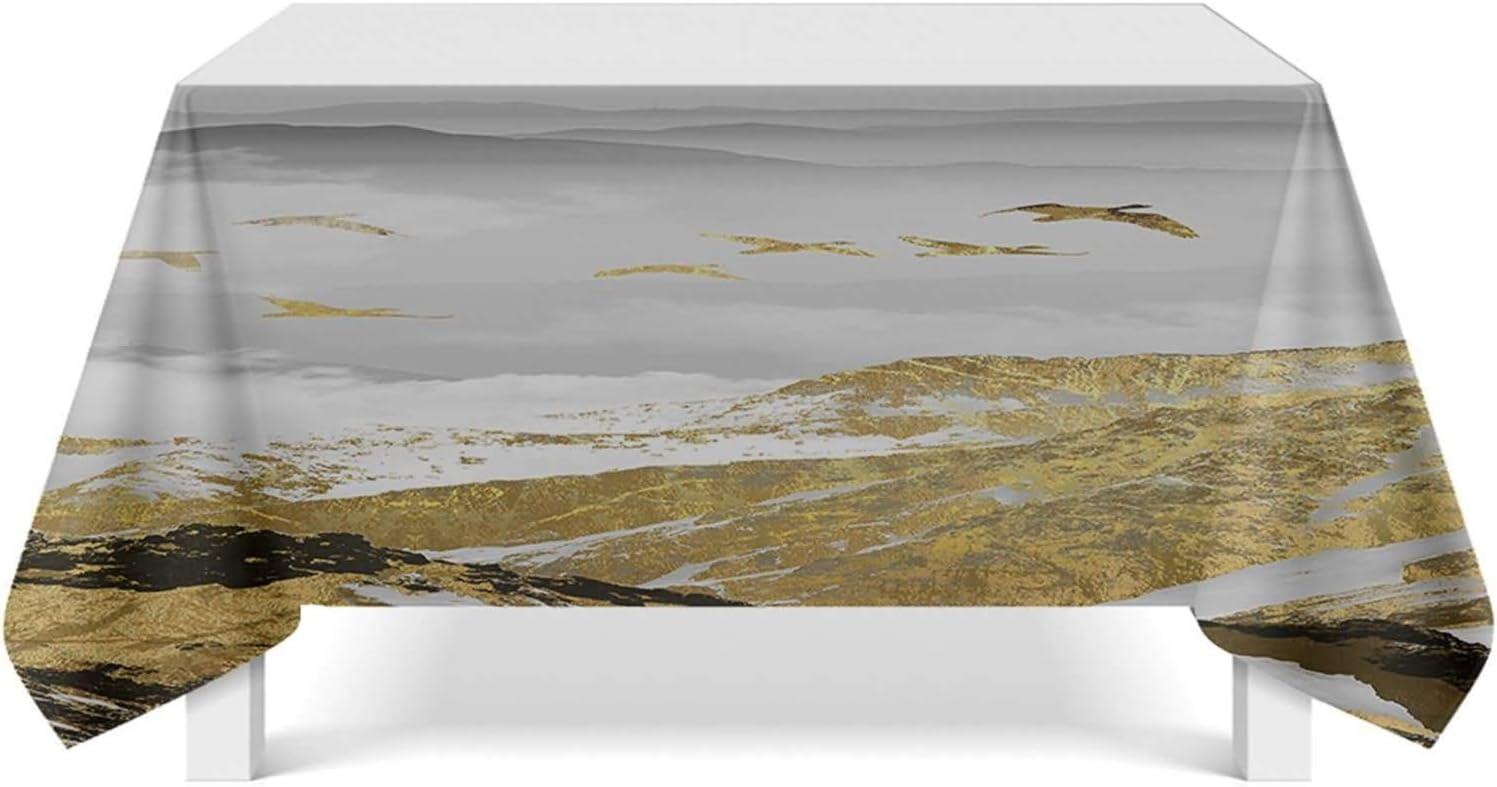 Epinki Mantel Poliester Mantel de Mesa Oro Gris Oro Ideal para Cocina Mesa Decoración Tamaño 140x220CM