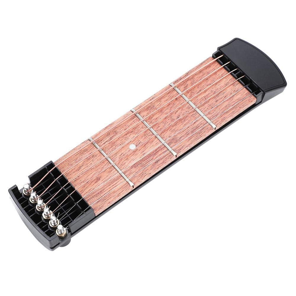 Portable Pocket Guitar, 6 String 4 Fret Pocket Guitar Mahogany Fingerboard with Bag for Beginner Practice Training Dilwe