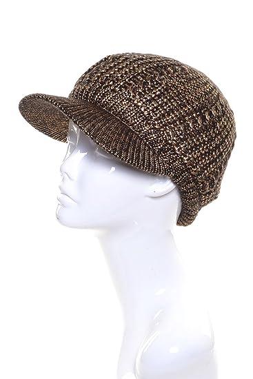 7fc61546255 an Womens Beanie Cap Knit Bronze Metallic Lurex Thread Cozy Plush Lined Hat