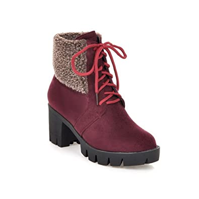 Ladies Chunky Heels Buckle Round Toe Claret Imitated Leather Boots - 8.5 B(M) US