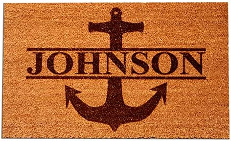 Personalized Your Name Coir Fiber Laser Engraved Doormat 30 x 18 Anchor Custom