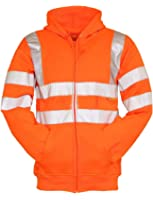Forever Mens High Visibility Hi Vis Safety Hooded Sweatshirt Top