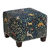 Skyline Furniture Medford Square Nail Button Ottoman in Admiral