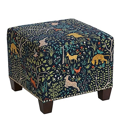 Skyline Furniture Medford Square Nail Button Ottoman in Admiral by Generic