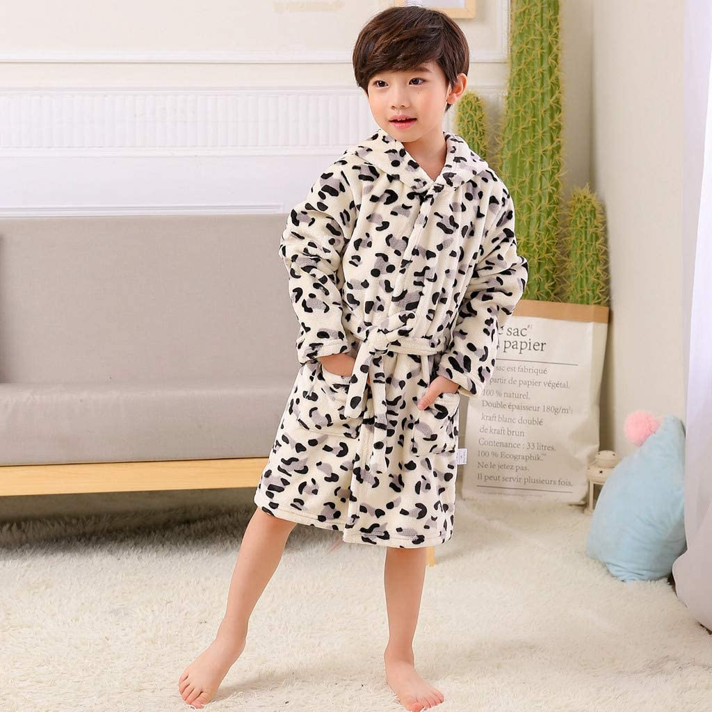 12 Months-10 Years BFYOU Toddler Baby Girl Baby Boy Girl Child Print Thick Flannel Bathrobe Nightgown Pajamas