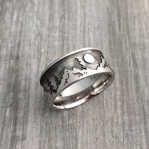 sterling silver mountain ring mens mountain wedding ring nature wedding ring - Nature Wedding Rings