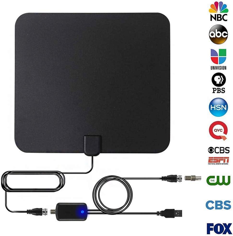 VUVN Antena de TV Antena Interior HDTV con Amplificador Portátil, 130-175 KMs de Recepción, disfrute de Muchos Canales de TV Gratis, fácil de usar e ...
