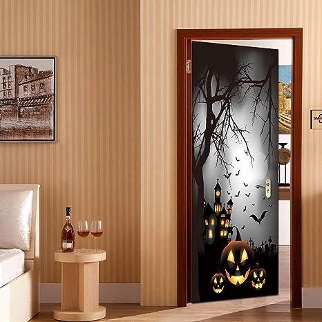 Retro Creativo Etiqueta De La Puerta, Halloween 3D Imprimir Cartel Vinilo Puerta Apliques De Pared Pegatina Desmontable Cartel DIY Arte Decoración,A,77x200cm: Amazon.es: Bricolaje y herramientas
