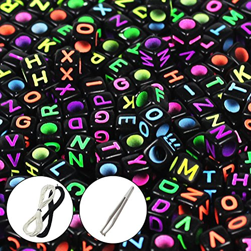 """: JPSOR 600 Pcs Black Letter Beads Alphabet Beads Mixed Color Alphabet""""A-z"""" Cube Beads for Jewelry Making for Kids DIY Bracelets, Necklaces"""