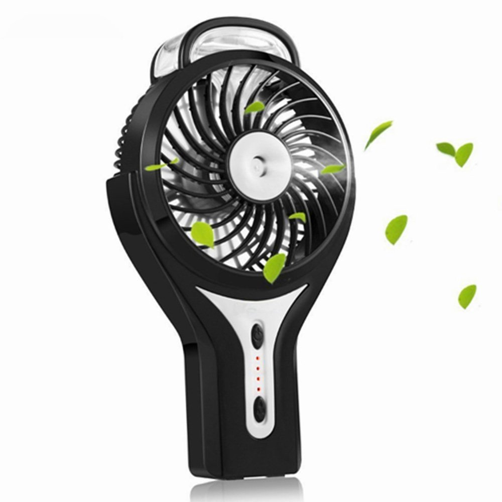LuxLumi Tropic Humidifier Fan Spray Misting Portable Personal Handheld with Rechargeable Battery Operated for Travel Gym Kids Office Desk Bedroom Summer Festivals Camping Hiking (Black)