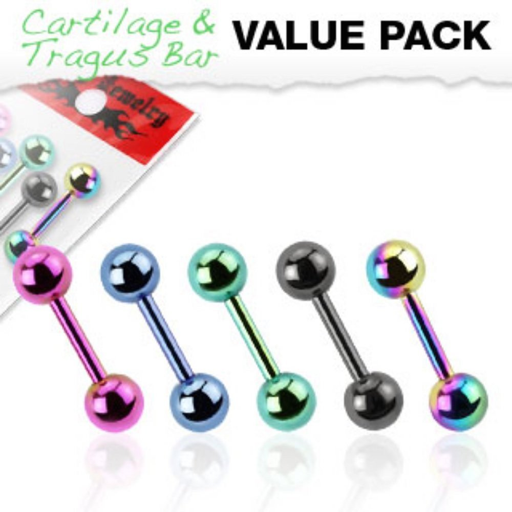 Covet Jewelry 5 Pcs Value Pack of Assorted Titanium IP Cartilage//Tragus Bar Over 316L Stainless Steel