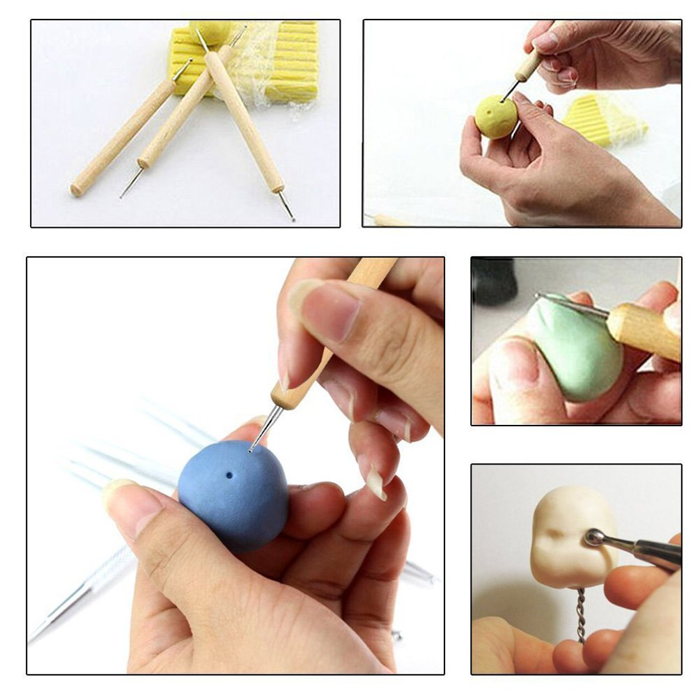 Ball Stylus Dotting Modeling Tools Clay Sculpting Tools Rock Painting Kit for Pottery Polymer Clay Sculpture 13Piece