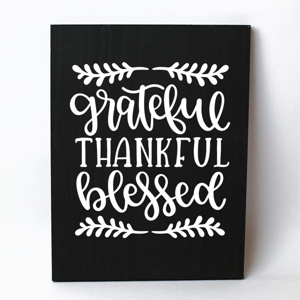 Grateful Thankful Blessed Pine Wood Wall Plaque Sign Home Decor