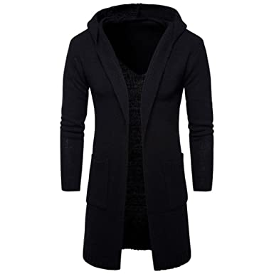 88070e16422 Forthery Mens Slim Fit Knit Longline Cardigan with Hood Sweater (Tag M  US S