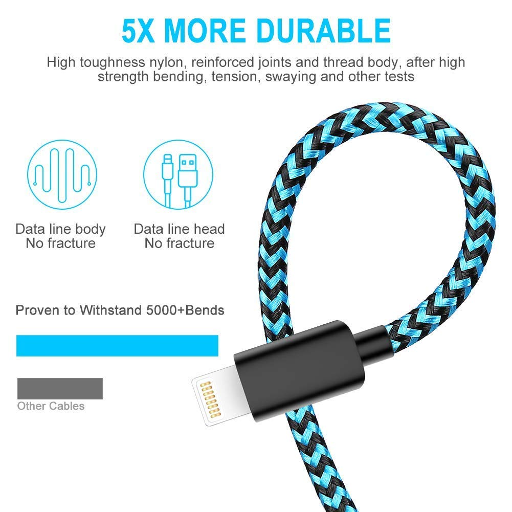 MFi Certified Phone Charger Cable,WUXIAN【5Pack 3FT//6FT//6FT//10FT】 Extra Long Nylon Braided Fast Charging/& Syncing Cord Compatible with iPhone XS//MAX//XR//X//8//8//Plus//7//7 plus//6s// 6s Plus-Black/&Blue