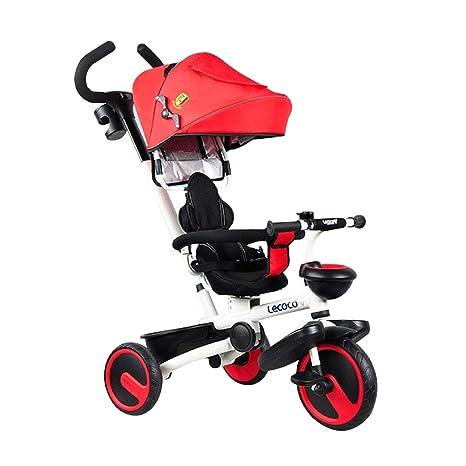 Triciclo para niños 4 en 1 Asiento Giratorio Carro de bebé Cochecitos para niños Plegables Niño