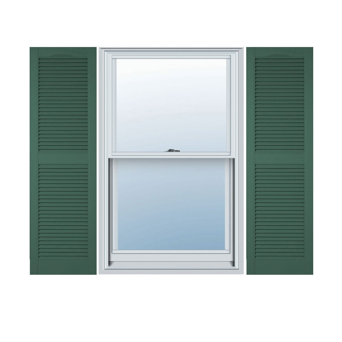 Ekena Millwork LL1S12X04300FG Lifetime Vinyl, Standard Cathedral Top Center Mullion, Open Louver Shutters, w/Installation Shutter-Lok's & Matching Screws (Per Pair), 12'' W x 43'' H, Forest Green
