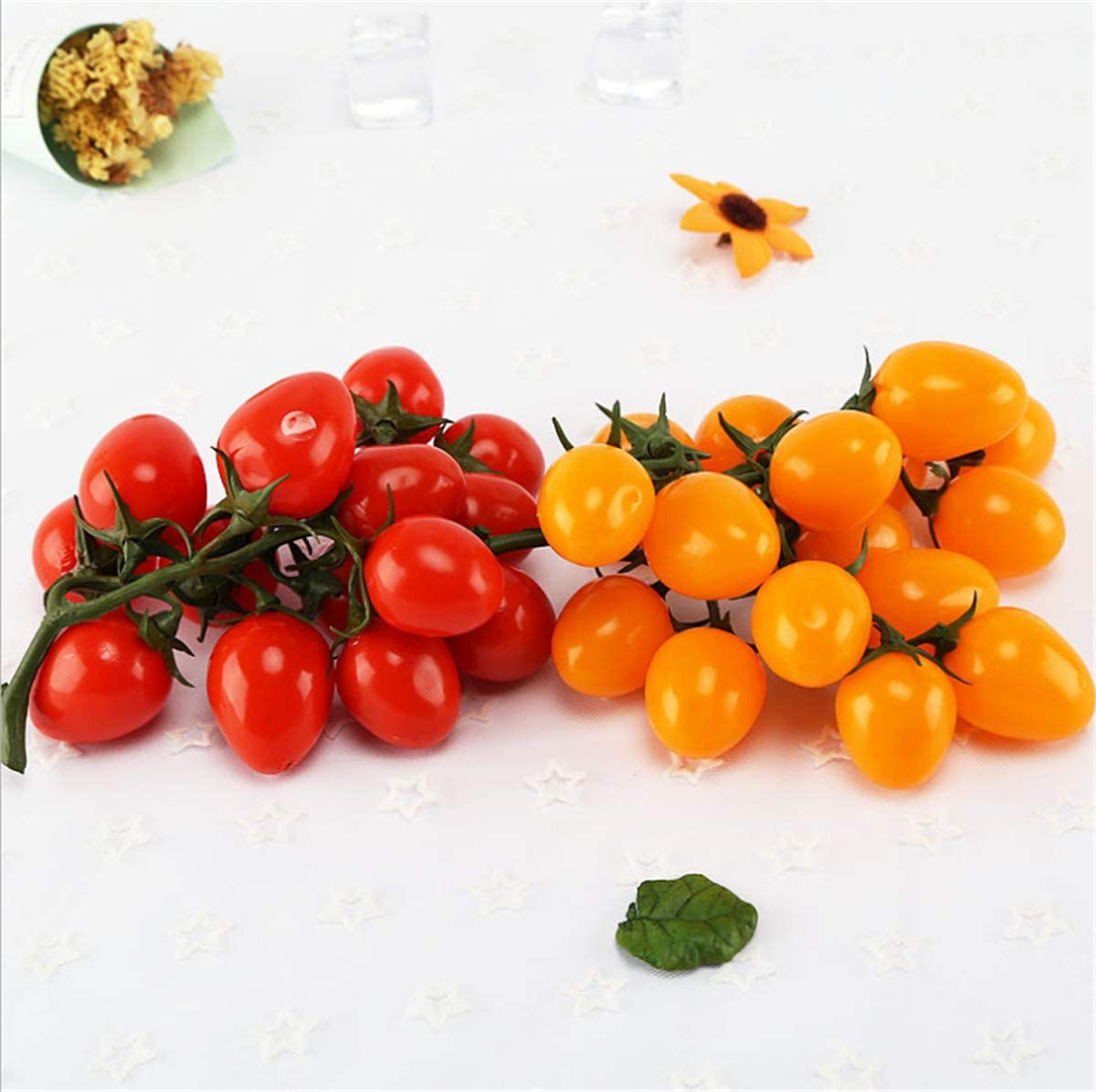 Zzooi 2PCS Artificial High Simulation Cherry Tomatoes Display Props Faux Cherry Tomatoes Cabinet Showcase Decor