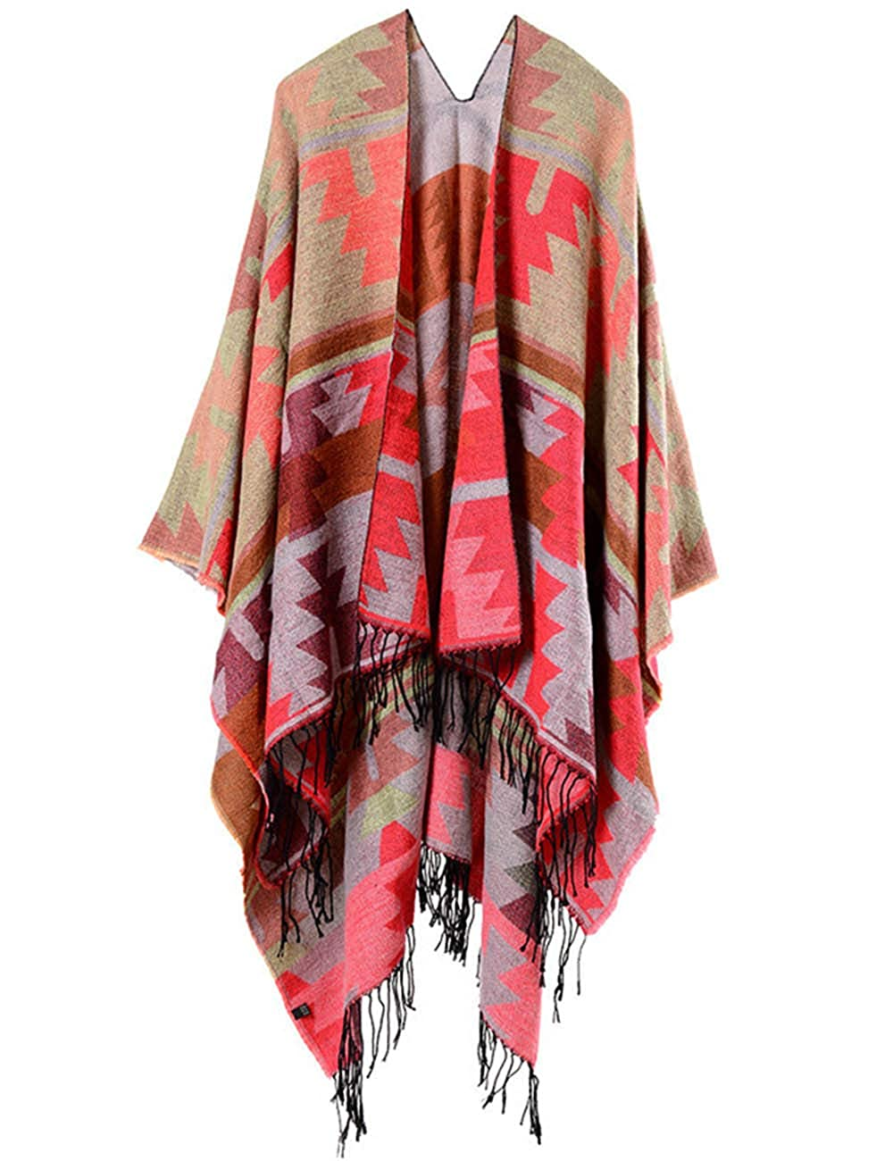 XXXITICAT Women's Plaid Pattern Wrap Shawl Cardigan Poncho Cape