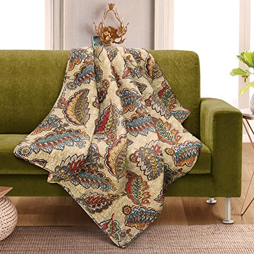 NEWLAKE Quilted Throw Blanket for Bed Couch Sofa, Tropical Ocean Style, 60X78 Inch