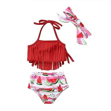 3eb16ef4e Amazon.com  Fiomva 3Pcs Baby Girls Tassel Bikini Set Fruit Watermelon Swimwear  Swimsuit Bathing Suit with Headband  Clothing