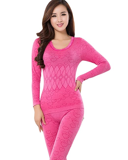 SaiDeng Mujer Cuello Redondo Conjunto Termico Invierno Larga Ropa Interior Conjunto De Pijama Rose