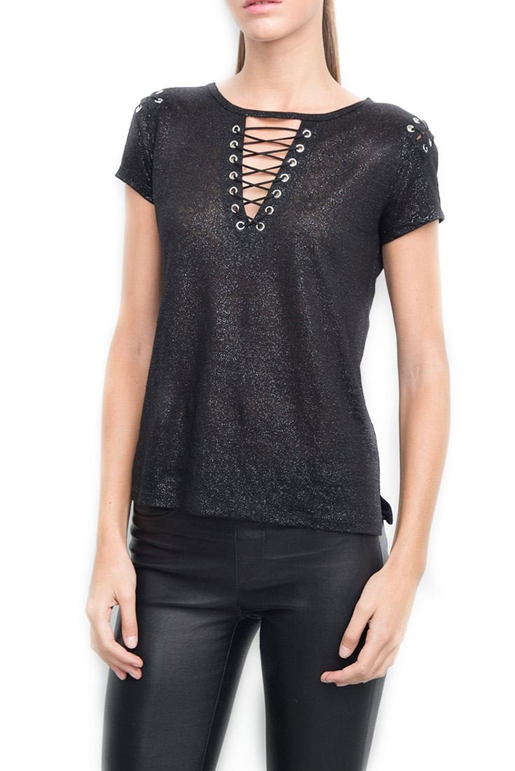 Generation Love Women's T-Shirt Hugo Lace Up Tee - Black Silver - M by Generation Love (Image #1)
