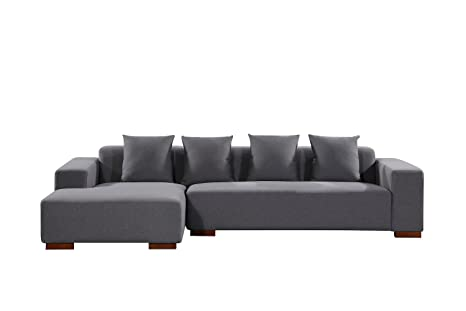 Amazon.com: Velago Lyon Dark Grey Left-Facing Sectional Sofa ...