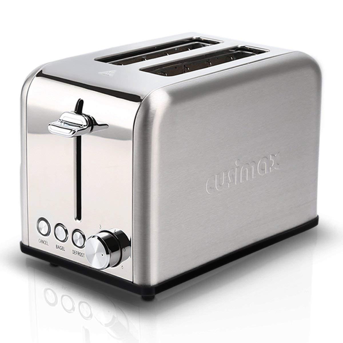 Cusimax Toaster 2 Slice, Extra Wide Slot Toaster with BAGEL/DEFROST/CANCEL Function, Bread Toaster, Stainless Steel Small Bagel Toaster, Compact Two Slice Toaster 6 Shade Settings