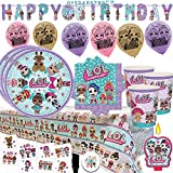 LOL Surprise Mega Deluxe Party Supply Pack and Decorations for 16 Guests with Plates, Cups, Napkins, Tablecover, LOL Candle, Tattoos, 6 Balloons, Birthday Banner, and EXCLUSIVE Birthday Pin by Another Dream!