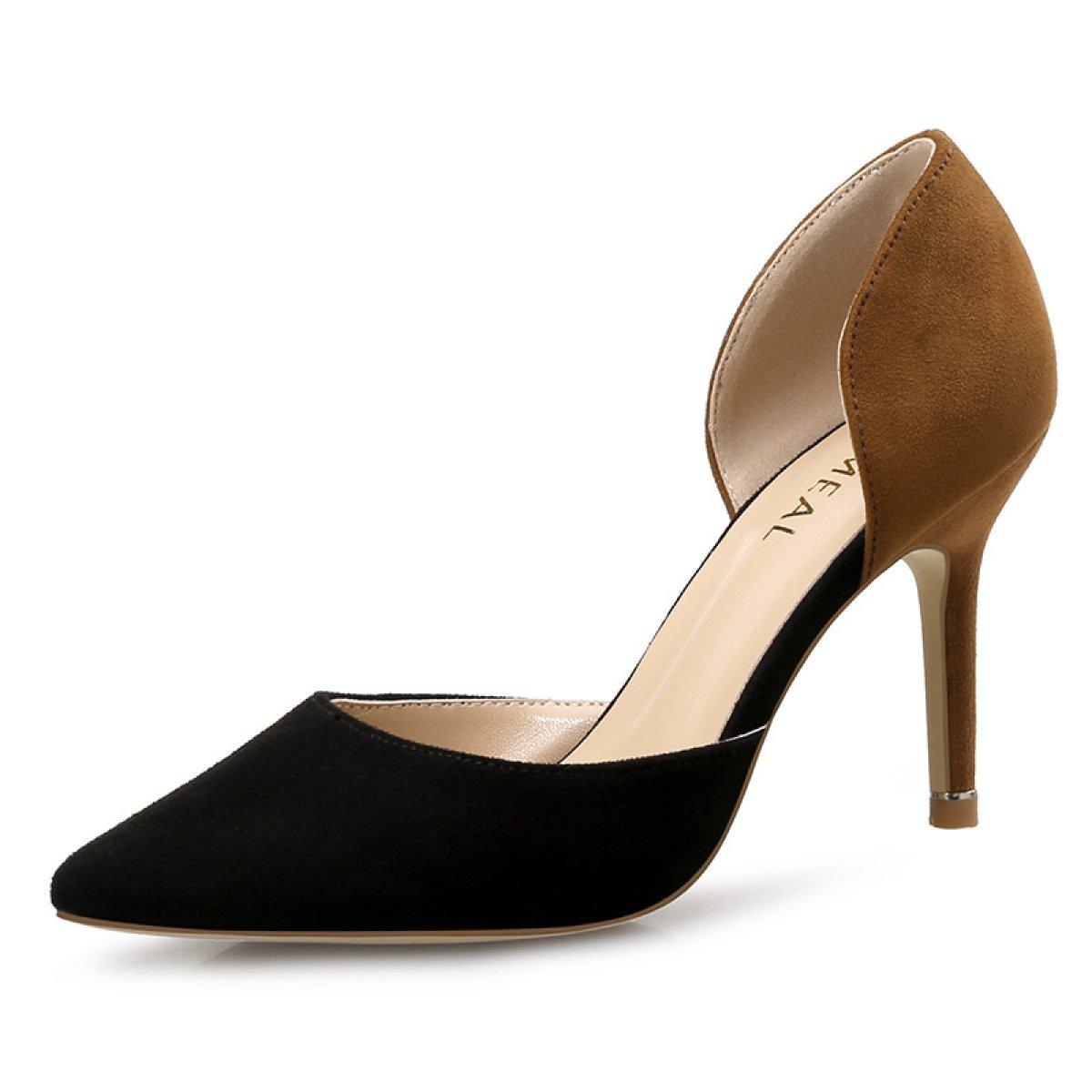 Primavera Y Verano Versión Coreana Hueca Zapatos De Trabajo Tacones Altos Fina Con Ocupación Zapatos Puntiagudos Solos 37|Negro