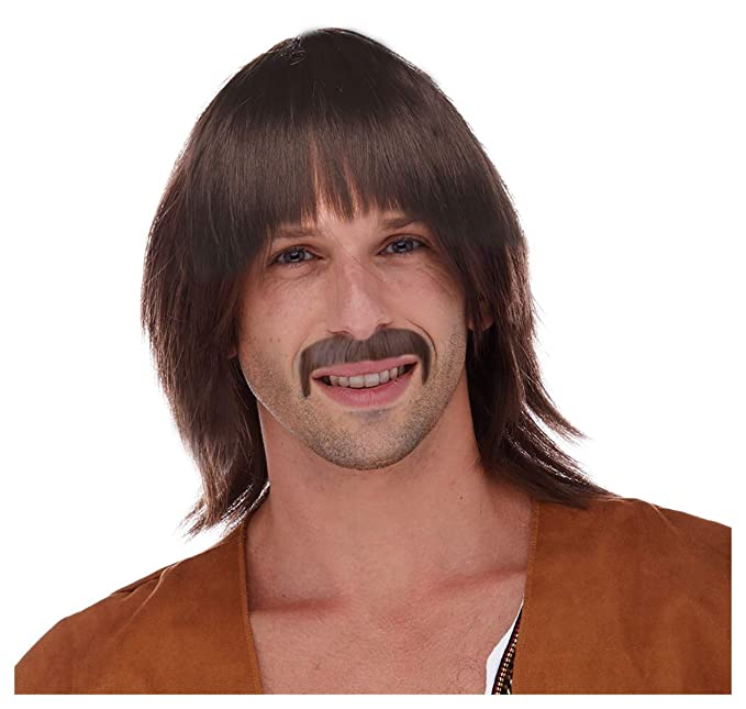 60s -70s  Men's Costumes : Hippie, Disco, Beatles Costume Adventure Brown Hippie Wig and Mustache Costume Set for Men $29.99 AT vintagedancer.com