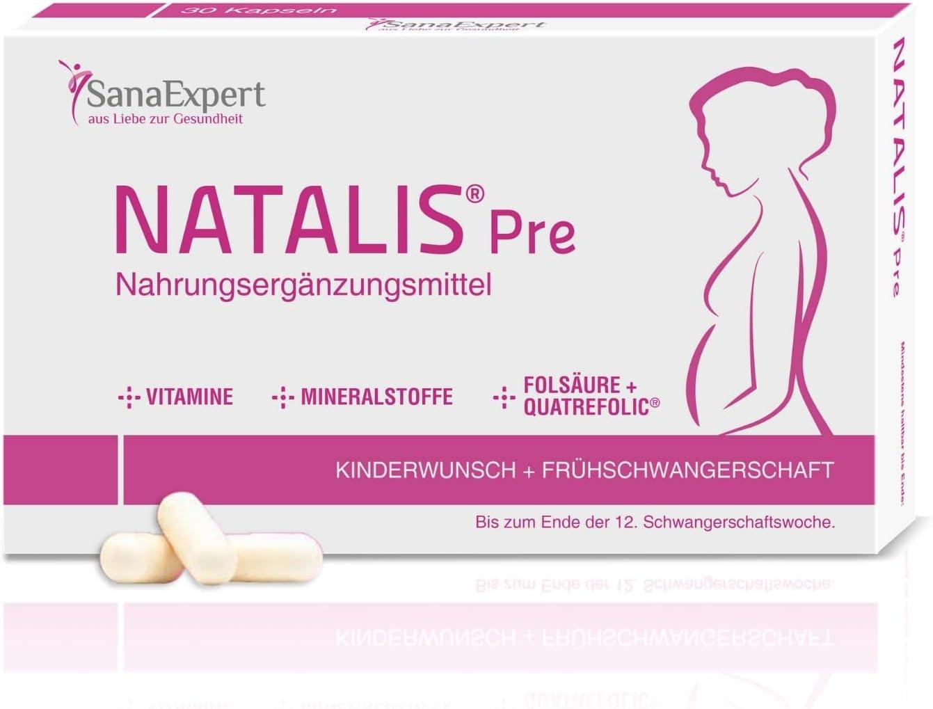 SanaExpert Natalis Pre, Suplemento Vitamínico para la Concepción y Mujeres en Embarazo con Ácido Fólico, Vitamina D, Hierro, Vitaminas para la Fecundación- 30 Cápsulas (1)