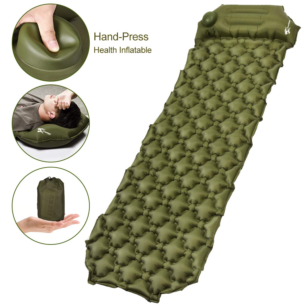 Camping Sleeping Pad, Upgraded Inflatable Camping Mat with Built-in Pump, 2.5'' Thick Sleeping Pads, Durable Waterproof Air Mattress Compact Ultralight Hiking Pad for Tent,Travel, Backpacking, Hiking by Trentixel
