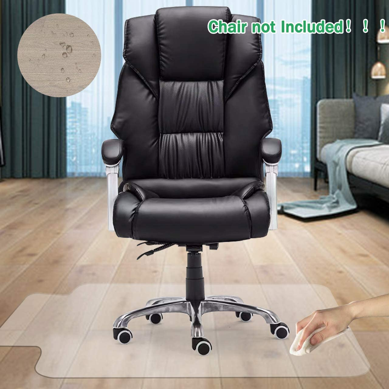 """GeeWin Home Office Chair Mat for Hardwood Floor, 36'' x 48'' Clear Floor Mat for Rolling Chairs, Floor Protector Thick Durable Chair Mat Chairmats (36"""" X 48"""" with Lip)"""