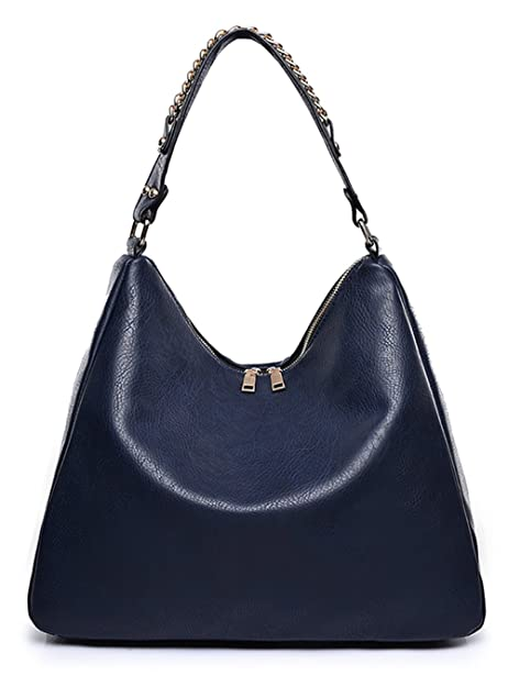 Covelin Women s Soft Leather Handbag Hobo Purse Large Capacity Tote  Shoulder Bag Blue 52892afddf0ec
