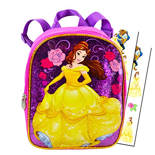 Disney Beauty and the Beast Toddler Preschool Backpack 10 inch Belle Mini Backpack with Stickers (Pink, (Mini Adventures Two Packs)