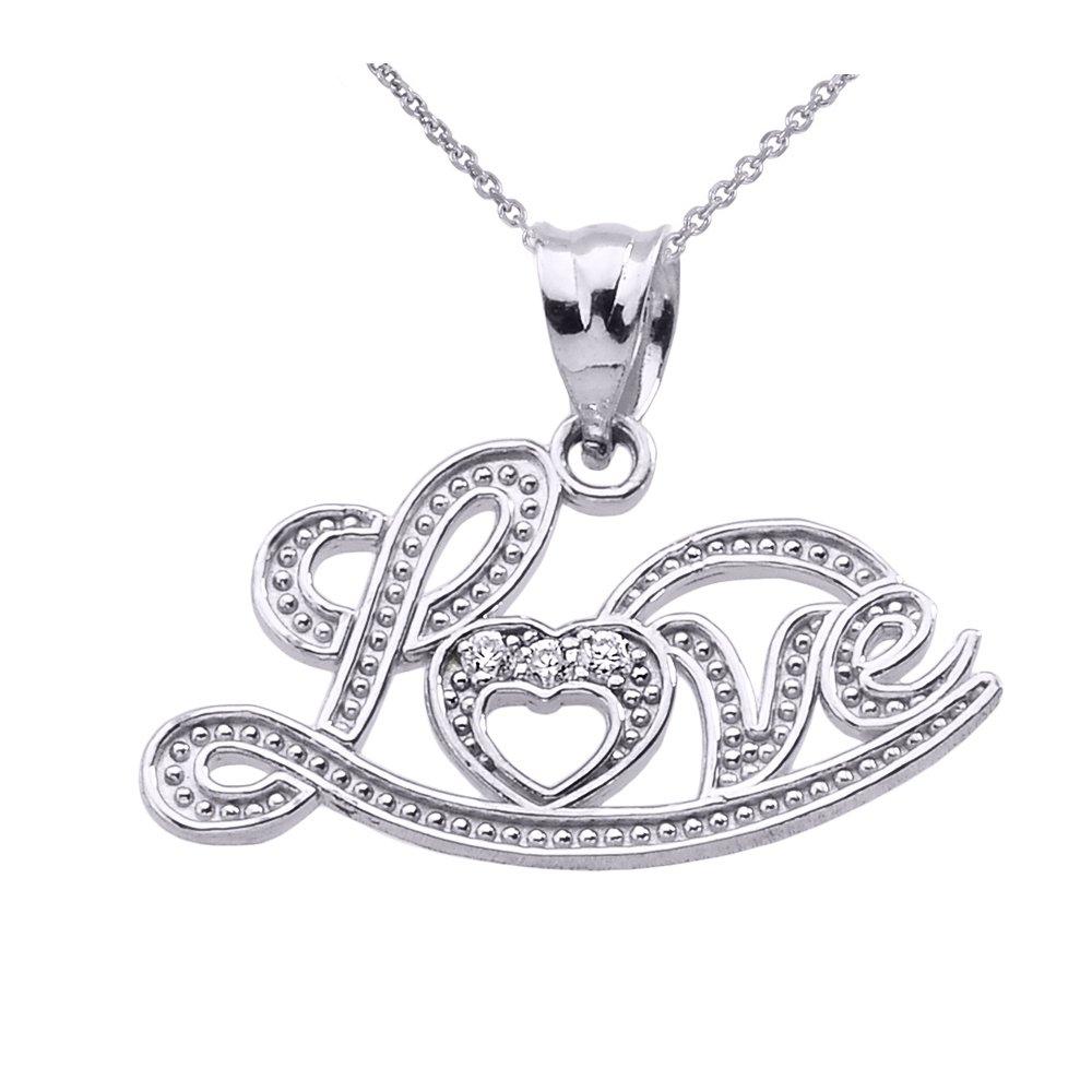 Exquisite 10k White Gold ''Love'' Script Diamond Pendant Necklace, 20''