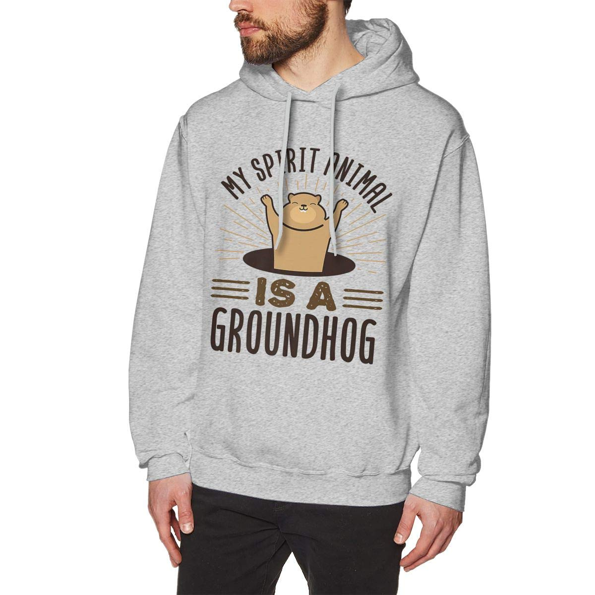 Mens Stylish Solid Color Hooded Long Sleeve Pullover My Spring Animal is A Groundhog Hooded Sweatshirt