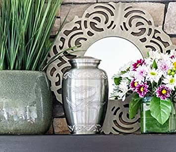 Peaceful Freedom Silver Pewter Cremation Urn for Ashes Funeral Urns by Glow Choice Gift or Tribute Vase for Burial Memorial Beautiful Affordable